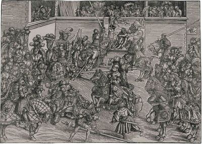 Lucas Cranach the Elder, 'The Second Tournament, with the Tapestry of Samson and the Lion', 1509