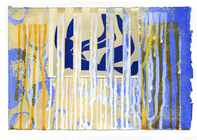 "Carol Bennett, '""Interrupted II (Swim with Matisse) Paper"" Abstract acrylic painting with blue and yellow', 2020"