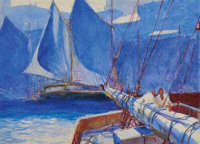 John Whorf, 'Harbor Scene with Stern of Boat and Two Sailors'