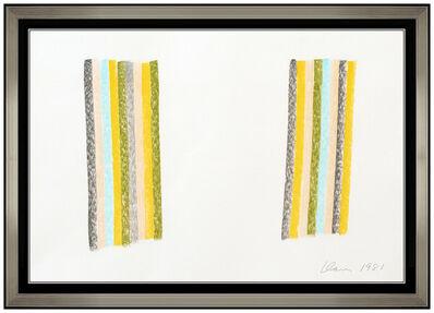 Gene Davis, 'Gene Davis Original Oil Pastel Drawing Vertical Stripes Lines Signed Modern Art', 1981
