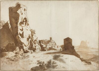 Bartholomeus Breenbergh, 'The Fantastic Rocks and Castle at Bomarzo [recto]', ca. 1625