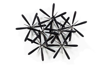 James Surls, 'Round Tipped Black Raw wall Flower', 2013
