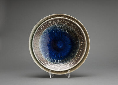 Tatsuzo Shimaoka, 'Plate, salt glaze with impressed and inlaid rope pattern'