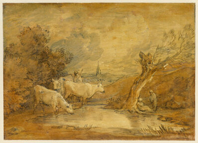 Thomas Gainsborough, 'Landscape with Figures, Herdsman and Cattle at a Pool, and Distant Church', Mid-to late 1780s