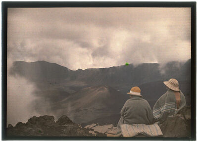 Unknown, 'Hawaiians look out at a landscape with volcano', Unknown