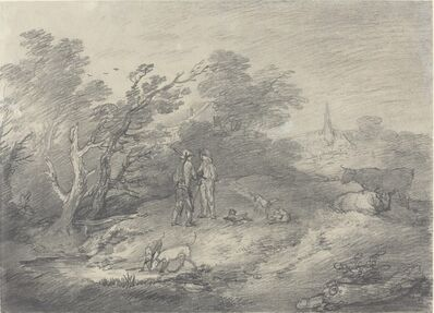 Thomas Gainsborough, 'Woods Near a Village with Rabbit Catchers and Their Greyhounds', Late 1750s