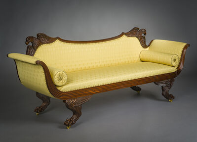 Attributed to Duncan Phyfe, 'Neo-Classical Sofa with Flanking Eagles on Crestrail', 1815-1820