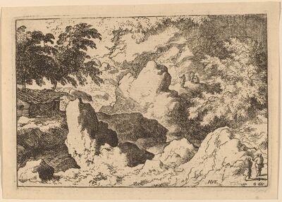 Allart van Everdingen, 'Three Men on a Rock', probably c. 1645/1656