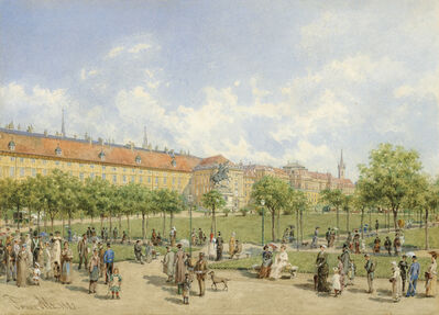 Franz Alt, 'Heldenplatz in Vienna with a view of the Leopoldine Wing of the Hofburg', 1882