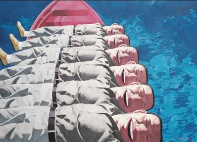 Yue Minjun, 'Red Boat', 2009