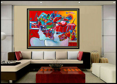 Peter Max, 'PETER MAX Original PAINTING on CANVAS Signed BLUSHING BEAUTY profiles HUGE 48x60', 1991
