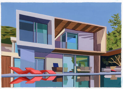 Andy Burgess, 'Summer House With Red Loungers', 2020