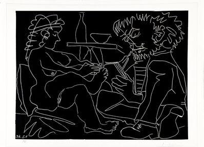 Pablo Picasso, 'Peintre dessinant et modele nu au chapeau', 1965