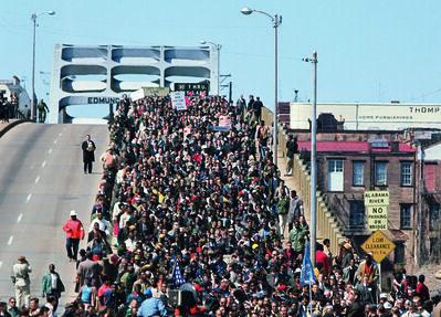Steve Schapiro, 'Thousands Crossing the Edmund Pettus Bridge with Dr. King'