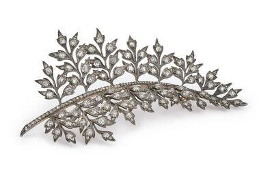 Unknown French, 'Diamond set - stem brooch', ca. 1880
