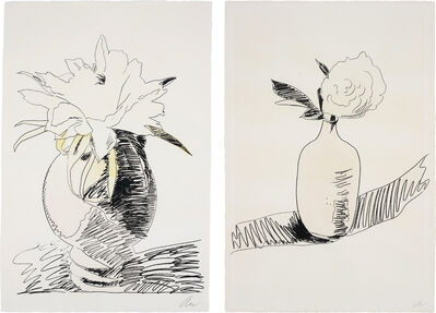 Andy Warhol, 'Flowers (Hand-Coloured): two plates', 1974