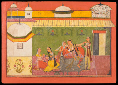 Devidasa of Nurpur, 'Illustration to the Rasamanjari of Bhanu Dutta: The Intoxicated Courtesan', 1695