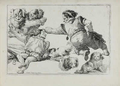 Giovanni Domenico Tiepolo, 'Studies of Dwarves and Dogs (Figure di nani e cani).', ca. 1774