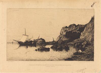 Adolphe Appian, 'Barque de pecheurs faisant escale dans les rochers de Collioure'