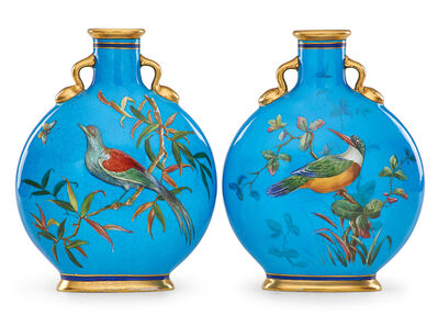 Christopher Dresser, 'Two flask-shaped double-sided vases with birds'