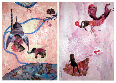 Ritu Sinha, 'Desire - Intricate Diptych on Dark Phase of Indian History in Pink + Grey on Paper', 2018