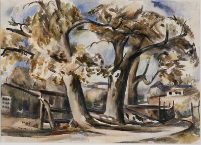 Jozef Bakos, 'Cottonwoods Along Santa Fe River, Behind Compound', 1932