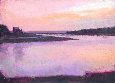 "Larry Horowitz, '""Sunset"" oil painting of purple sunset over purple lake', 2019"