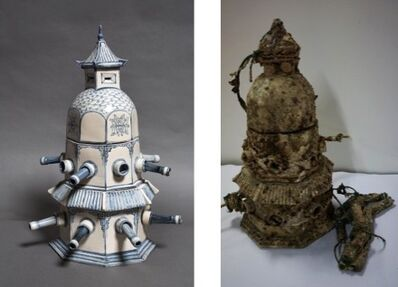 Bui Cong Khanh, 'Fortress Temple. Pair of hand-painted archaeological shards, before and after ocean-submersion (1)', 2013