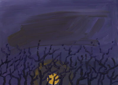 Lois Dodd, 'Yellow Moon, Gray Cloud and Trees', 2015