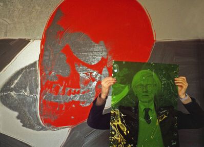 "Thomas Hoepker, 'Andy WARHOL with a skull painting in his ""Factory"" at Union Square USA. New York City.', 1981"
