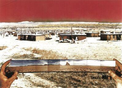"Patrick Nagatani, '""Bida Hi""/ Opposite Views, Northeast–Navajo Tract Homes and Uranium Tailings Southwest–Shiprock, New Mexico', 1990"