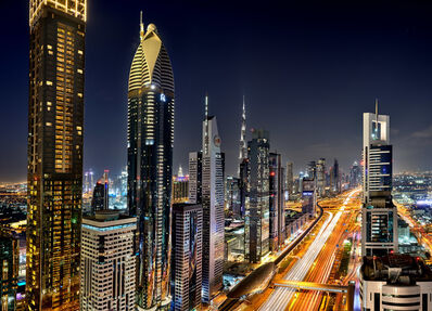 Andrew Prokos, 'Sheikh Zayed Road Towers at Night', 2020