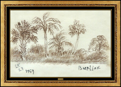 David Burliuk, 'David Burliuk Original Charcoal Drawing Hand Signed Landscape Illustration Art', 1959