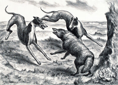 John Steuart Curry, 'Hounds and Coyote', 1931