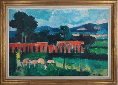 Andre Brasilier, 'André BRASILIER : Italy, Pastoral Landsape, 1954 - Signed Oil on Canvas', 1954