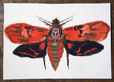 Allison Schulnik, 'Red Loch Bone Moth #4', 2017