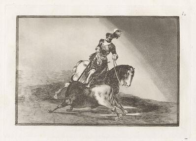 Francisco de Goya, 'Carlos V lanceando un toro en la plaza de Valladolid [Charles V Spearing a Bull in the Ring at Valladolid], plate 10 ', 1815-1816