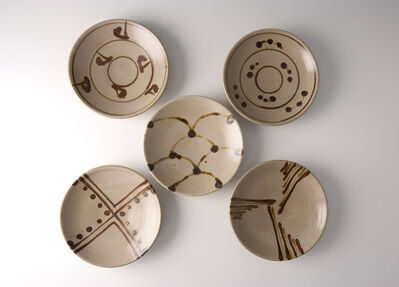 Shinsaku Hamada, 'Set of five plates, tensue decoration'