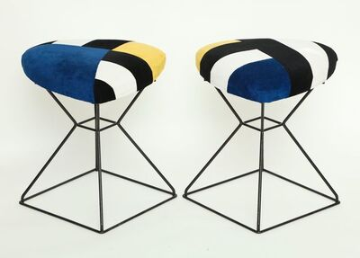 Unknown, 'Pairs of Vintage Black Triangular Shaped Iron Stools', 2018