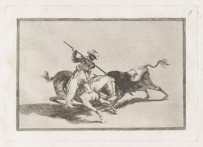 Francisco de Goya, 'El animoso moro Gazul es el primero que lanceó toros en regla [The Spirited Moor Gazul Is the First to Spear Bulls According to the Rules], plate 5', 1815-1816