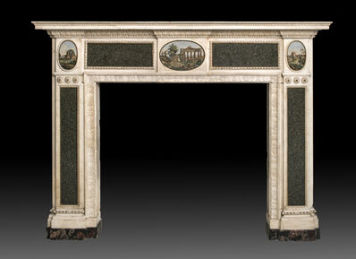 Lorenzo Cardelli and Cesare Aguatti, 'Sculpted and carved chimneypiece in white Carrara marble with green granite slabs and three oval micro-mosaic plaques', 1775 – 1780