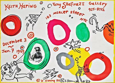 Keith Haring, 'Original, unique signed Radiant Baby Drawing with ink inscription on limited edition historic Shafrazi Gallery offset lithograph exhibition poster', 1988