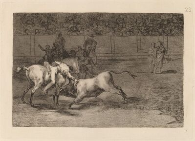 Francisco de Goya, 'Mariano Ceballos, alias el Indio, mata el toro desde su caballo (Mariano Ceballos, Alias the Indian, Kills the Bull from His Horse)', in or before 1816