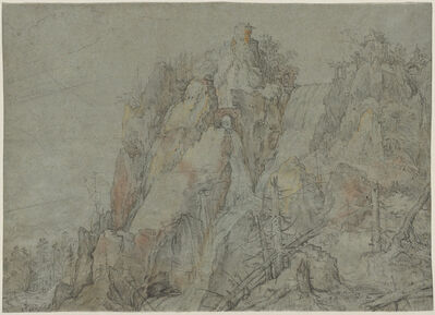 Roelandt Savery, 'Mountainous Landscape with Castles and Waterfalls', ca. 1606