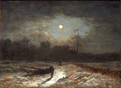 George Inness, 'Winter Moonlight (Christmas Eve)', 1866