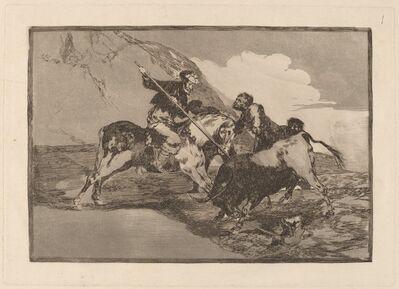 Francisco de Goya, 'Modo con que los antiguos Espanoles cazaban los toros a caballo en el campo (The Way  in which the Ancient Spaniards Hunted Bulls on Horseback in the Open Country)', in or before 1816