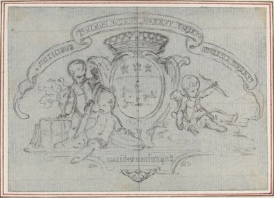 Gravelot, 'Coat of Arms with Three Putti'