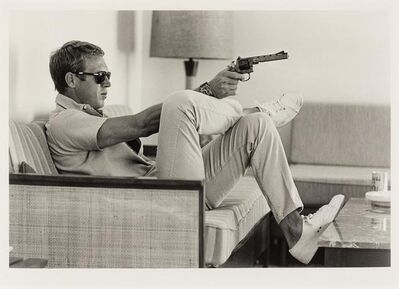 John Dominis, 'Steve Mcqueen Aims a Pistol in His Living Room', 1963