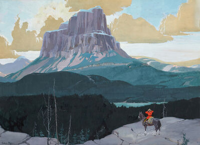 FREDERIC KIMBALL MIZEN, 'Canadian Mountie Gazing at Butte'