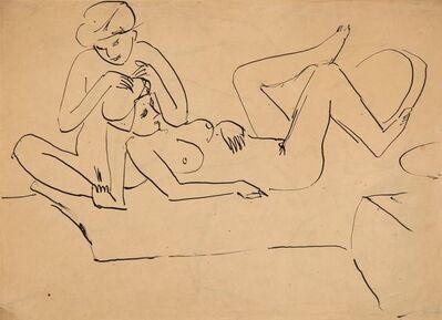 Ernst Ludwig Kirchner, 'Auf Lager sitzender und liegender weiblicher Akt', ca. 1911